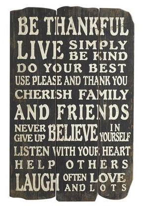 be thankful live simply